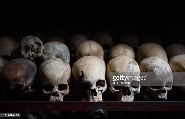 This photo taken on March 12 shows the skulls of victims killed during the Rwandan genocide laid out in the Nyamata Church in Nyamata Rwanda Nyamata...