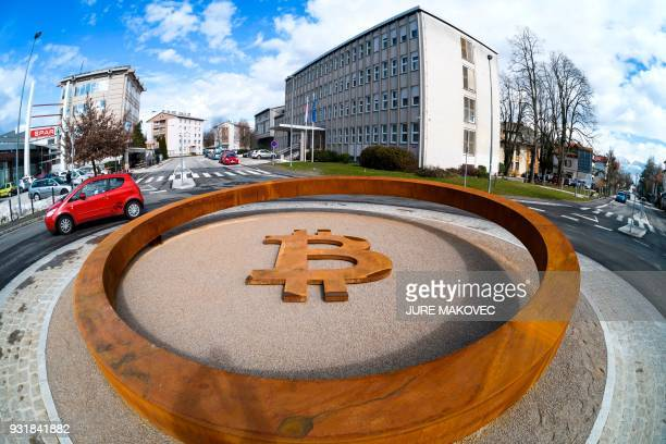 This photo taken on March 14 2018 shows the world's first Blockchain Monument that underpins cryptocurrencies in the city center of Kranj Slovenia /...