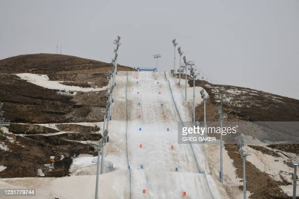 This photo taken on March 17, 2021 shows the moguls slope for the 2022 Beijing Winter Olympic Games, at the Genting Snow Park at Zhangjiakou, 200...