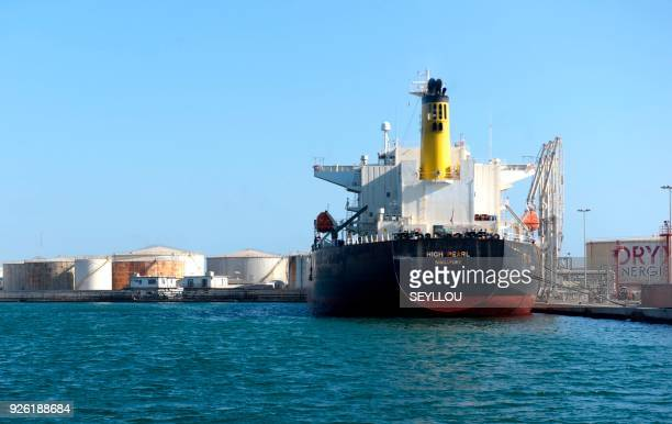 This photo taken on March 2, 2018 in Dakar shows the High Pearl oil tanker, docked in the Port Autonome. / AFP PHOTO / SEYLLOU