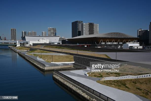 This photo taken on March 24 2020 shows the Ariake Gymnastics Center a venue for the 2020 Tokyo Olympics in Tokyo the day before the historic...
