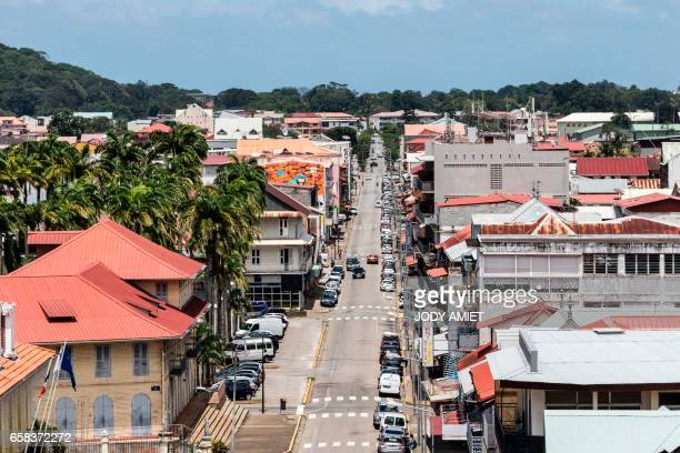 This photo taken on March 27 2017 in Cayenne shows the central Avenue General De Gaulle during a general strike throughout the French overseas...
