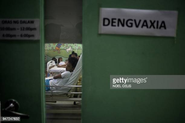 This photo taken on March 5 2018 shows patients who were injected with antidengue fever vaccine Dengvaxia at the Dengvaxia ward at the Quirino...