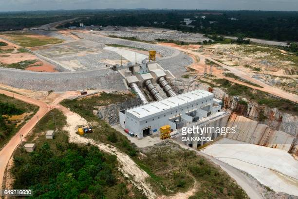 This photo taken on March 6 2017 shows an aerial view of the electricity production plant for the Soubre hydroelectric dam in Soubre The Soubre...