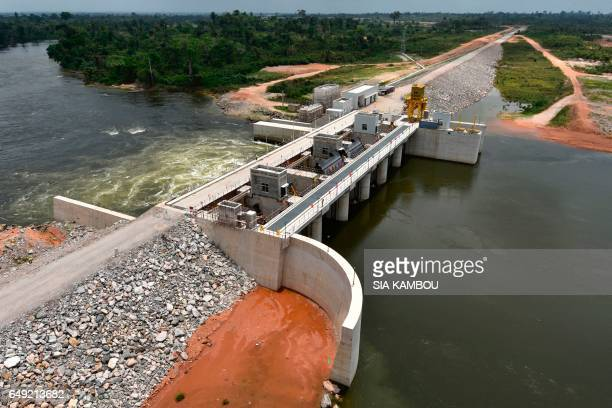 This photo taken on March 6 2017 shows an aerial view of the Soubre hydroelectric dam in Soubre The Soubre hydroelectric dam built by China to reduce...