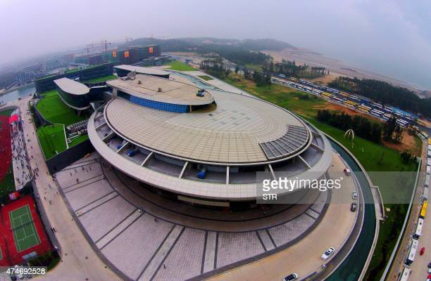 This photo taken on May 16 2015 shows the NetDragon Websoft headquarters building with the iconic circular contours and tubular features of the USS...