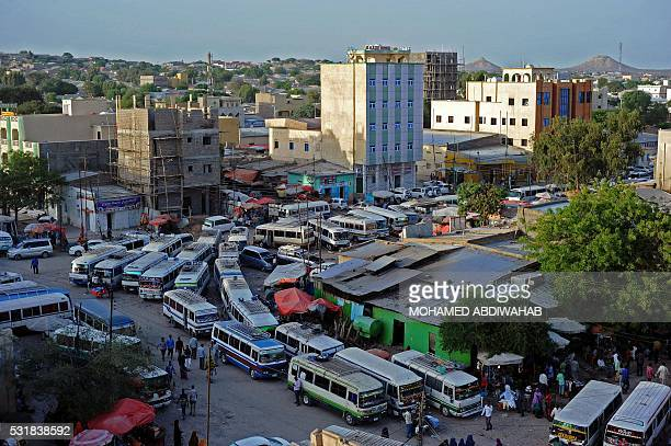 This photo taken on May 16 2016 in Hargeisa shows a downtown bus depot ABDIWAHAB