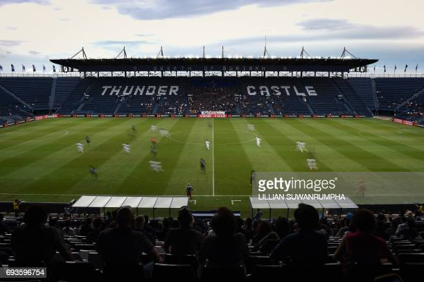 """This photo taken on May 17, 2017 shows Buriram United hosting Suphanburi FC during a Thai Premier League match at the i-Mobile """"Thunder Castle""""..."""