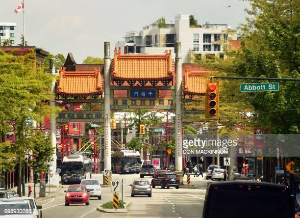 This photo taken on May 18, 2017 shows the Millennium Gate centered on Pender Street, marking one entrance to Chinatown in Vancouver, British...