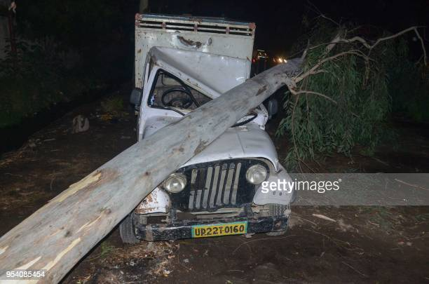 This photo taken on May 2 2018 shows a tree that fell in high wind during a storm onto a vehicle in Bareilly in India's northern Uttar Pradesh state...