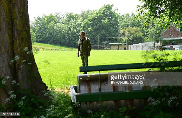 This photo taken on May 25 2016 in BraineleComte south of Brussels shows Thierry Hazard the father of Belgium's football team forward Eden Hazard...