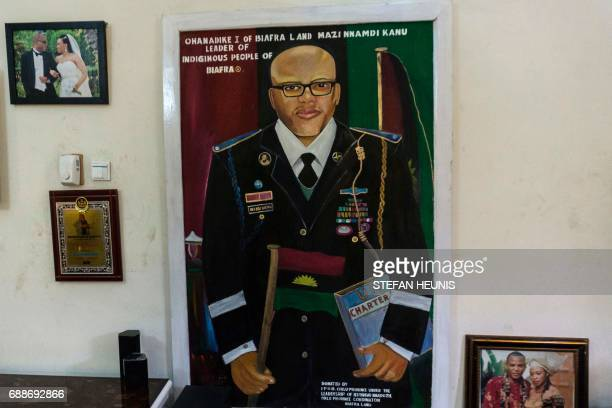 This photo taken on May 26 2017 in Umuahia southeast Nigeria shows a portrait of political activist and leader of the Indigenous People of Biafra...