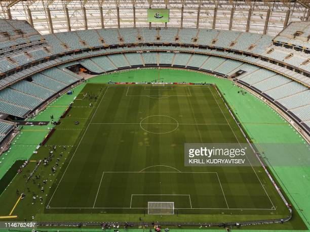 This photo taken on May 28 2019 in Baku shows an aerial view of the pitch of Baku Olympic stadium on the eve of the UEFA Europa league final match...