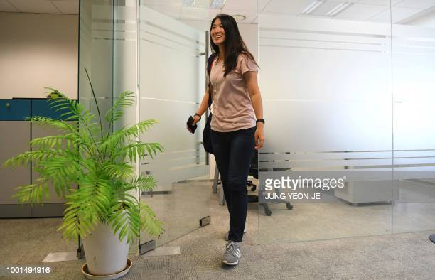This photo taken on May 29 2018 shows former South Korean tennis player Kim Eunhee leaving after an interview with AFP in Seoul Kim spoke to...