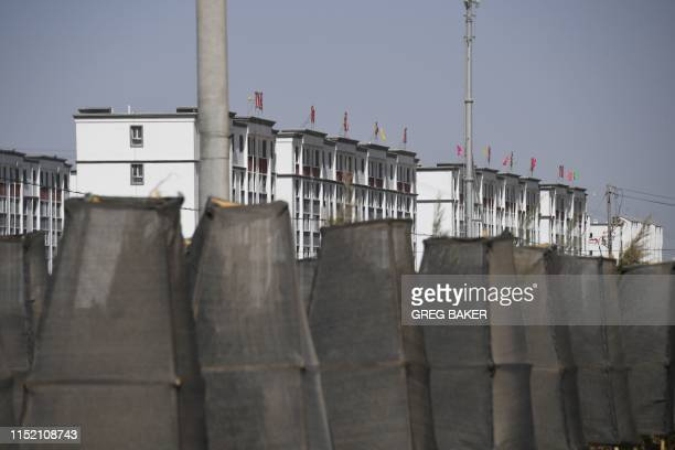 This photo taken on May 31, 2019 shows buildings in a complex which includes what is believed to be a re-education camp where mostly Muslim ethnic...