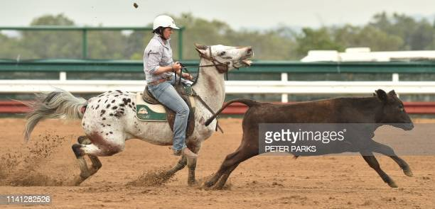 This photo taken on May 4 2019 shows a competitor taking part in the sport of campdrafting a unique Australian sport involving a horse and rider...