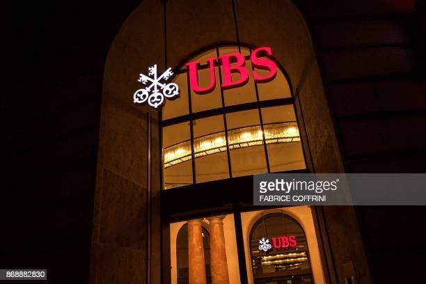 This photo taken on November 1 2017 in Basel shows a branch of Swiss banking giant UBS