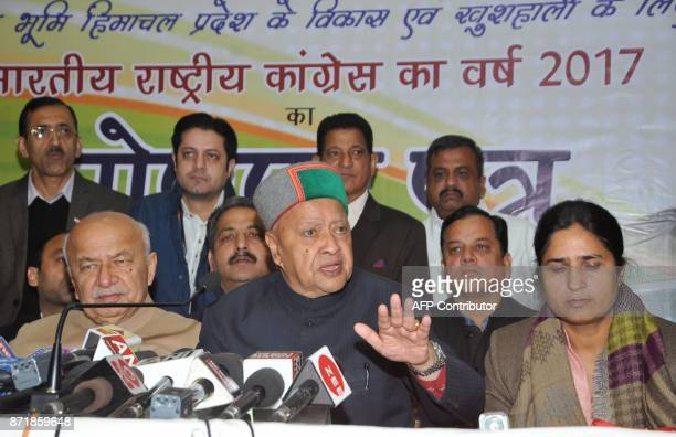 This photo taken on November 1 2017 shows Himachal Pradesh chief minister Virbhadra Singh talking with the media after releasing a party manifesto at...