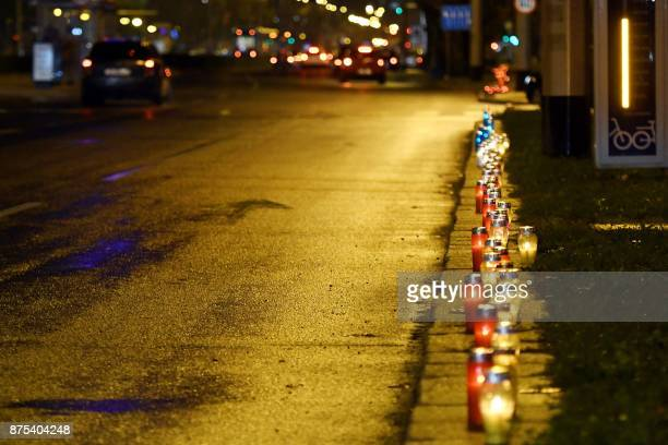 This photo taken on November 17 2017 in Zagreb shows 1000 candles lit in dedication to the Croatian town of Vukovar on the 26th anniversary of the...