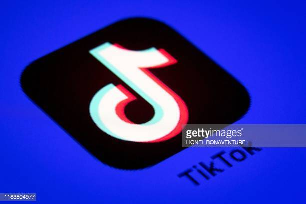 This photo taken on November 21 shows the logo of the social media video sharing app Tiktok displayed on a tablet screen in Paris
