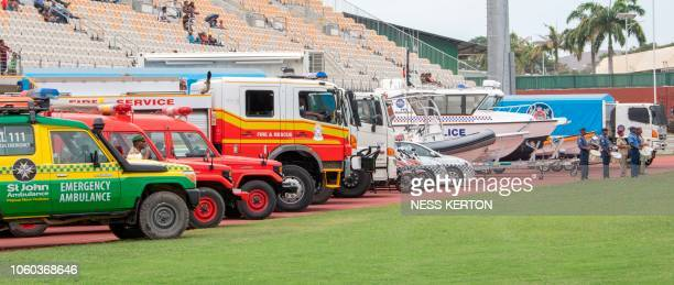This photo taken on November 5 2018 shows Papua New Guinea emergency services on parade in Port Moresby the host city for the upcoming AsiaPacific...
