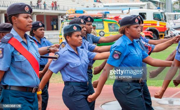 This photo taken on November 5 2018 shows Papua New Guinea police on parade in Port Moresby the host city for the upcoming AsiaPacific Economic...