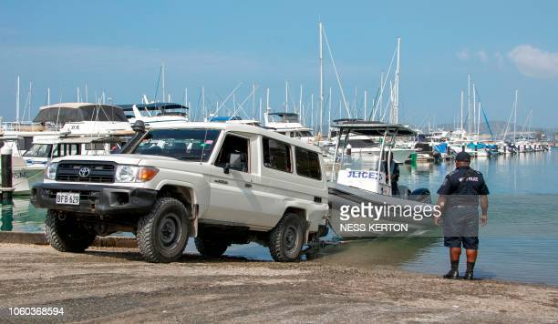 This photo taken on November 5 2018 shows Papua New Guinea police launching one of their patrol boats in Port Moresby the host city for the upcoming...