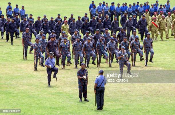 This photo taken on November 5 2018 shows Papua New Guinea security forces on parade in Port Moresby the host city for the upcoming AsiaPacific...