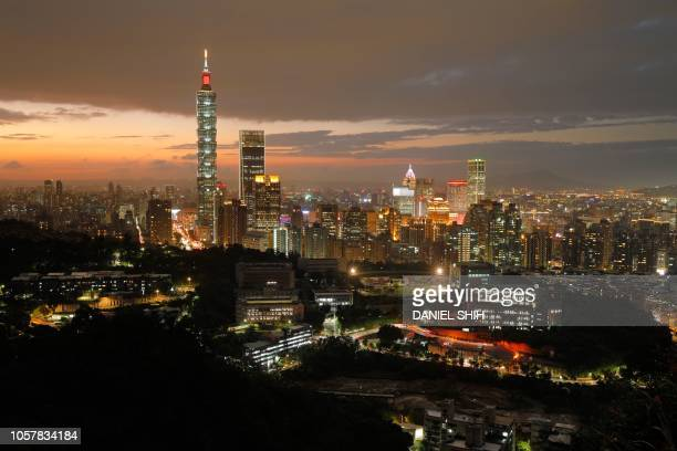 TOPSHOT This photo taken on November 5 2018 shows the Taipei skyline at sunset
