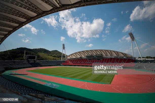This photo taken on October 1, 2018 shows the Kumamoto stadium, one of the 2019 Rugby World Cup venues, in Kumamoto.