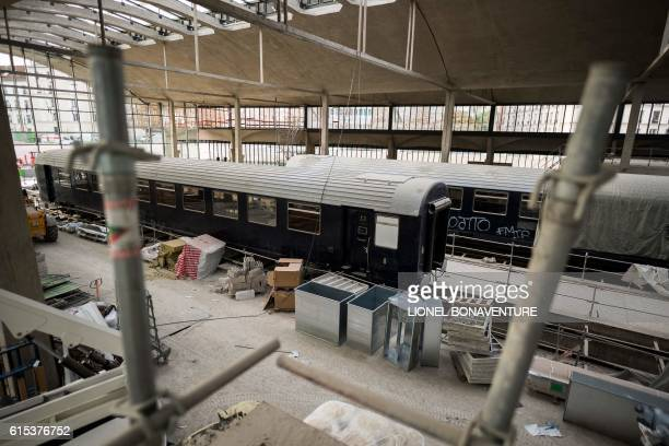 This photo taken on October 18 2016 in Paris shows the construction site of the world's biggest startup incubator Station F formerly known as the...