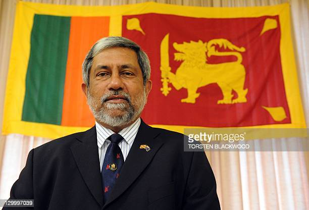 This photo taken on October 19 2011 shows Admiral Thisara Samarasinghe the new high commissioner for Sri Lanka to Australia standing before the...