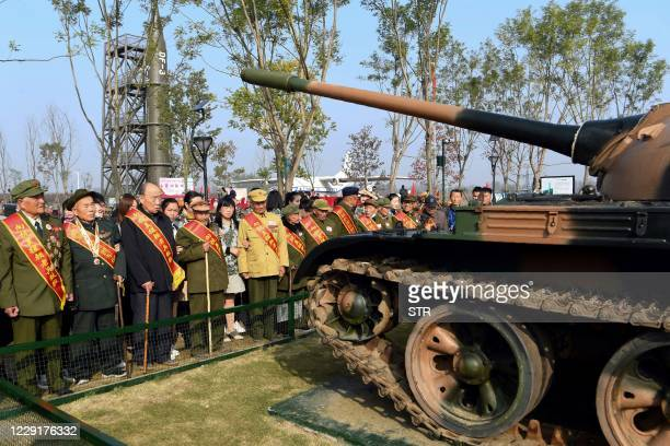 This photo taken on October 19, 2020 shows a group of Chinese veterans who fought in the 1950-53 Korean War, participating in an event commemorating...