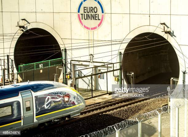 This photo taken on October 20, 2015 in Coquelles shows the new Velaro E 320 Eurotunnel train being tested before its expected service starting...