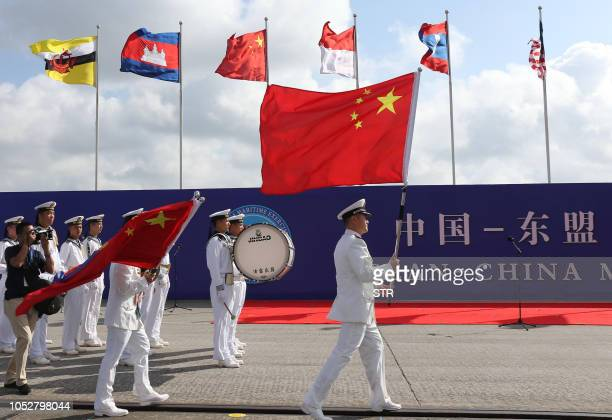 This photo taken on October 22 2018 shows Chinese sailors marching during the opening ceremony of the ASEANChina Maritime Exercise at a military port...