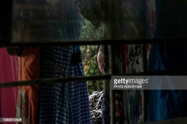 This photo taken on October 3 2018 shows Aye Mar eight months pregnant and unmarried taking refuge at the Myint Mo Myittar Single Mothers' Foundation...