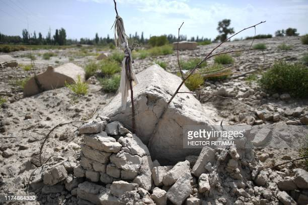 This photo taken on September 12, 2019 shows what used to be a traditional Uighur cemetery before it was destroyed in Shayar in the region of...