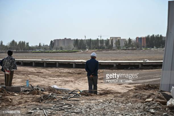 This photo taken on September 13, 2019 shows a park where a Uighur cemetery used to be located in Kuche in the region of Xinjiang. - China is...