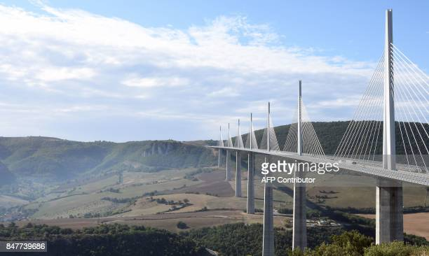 This photo taken on September 15 2017 in Millau southern France shows the Millau Viaduct / AFP PHOTO / PASCAL PAVANI