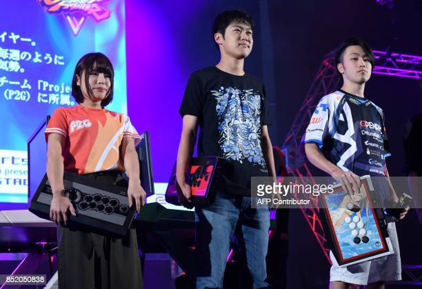 This photo taken on September 21 shows star game players gather to compete at an eSports game event at the Tokyo Game Show in Chiba City in suburban...