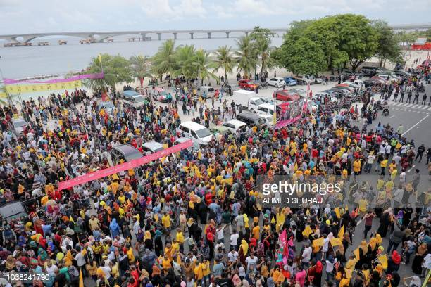 This photo taken on September 22 2018 shows a campaign rally for opposition Maldives candidate for president Ibrahim Mohamed Solih in the capital...