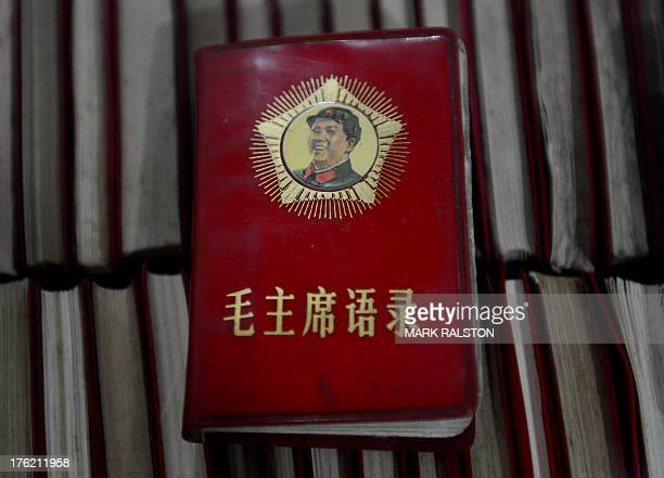 This photo taken on September 25 2012 shows 'Little Red Books' containing the thoughts of leader Mao Zedong at a Cultural Revolution museum near...