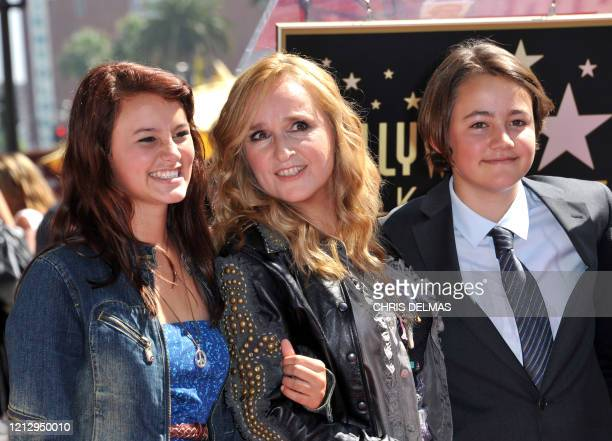 This photo taken on September 27 2011 shows singer Melissa Etheridge posing with her son Beckett and her daughter Bailey during her Walk of Fame...