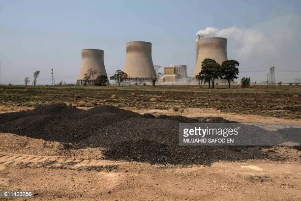 This photo taken on September 28, 2016 on the outskirts of Witbank shows the Mooifontein Colliery coal supplier to the Kendal and Duvah coal plant...