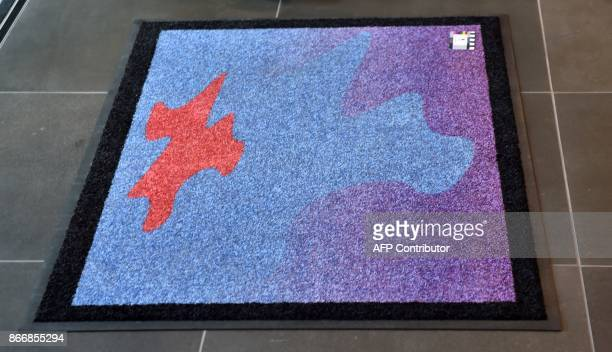 This photo taken on September 28 2017 shows the Cosmic Welcome Mat at the entrance to the 68th International Astronautical Congress 2017 in Adelaide...