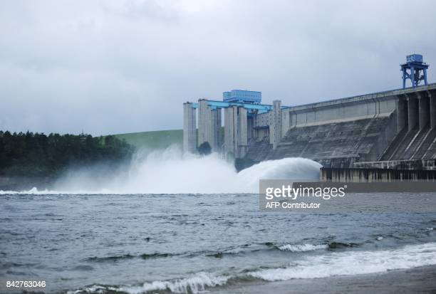 This photo taken on September 3, 2017 shows floodwater being discharged from a dam at Danjiangkou reservoir in the middle route of the South-to-North...