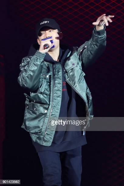 This photo taken on September 4 2017 shows Chinese rapper PG One performing during a promotional event for the movie 'Spiderman Homecoming' in...