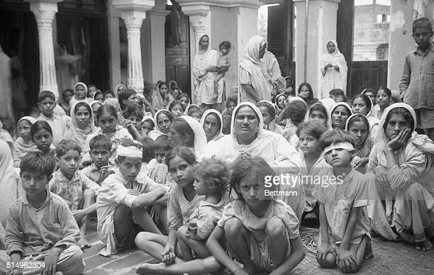 This photo was made at the railroad station of Amritsar border city of India after a refugee train arrived from Pakistanthe Moslem state The group is...