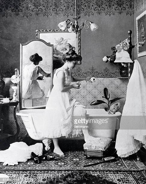 This photograph from the late nineteenth century showing a lady preparing for a bath represents some of the most daring and risque photography of the...