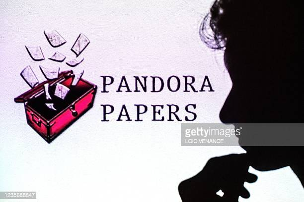 This photograph illustration shows a woman's shadow cast on the logo of Pandora Papers, in Lavau-sur-Loire, western France, on October 4, 2021. -...